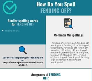 Correct spelling for fending off