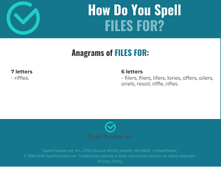 Correct spelling for files for