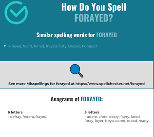 Correct spelling for forayed