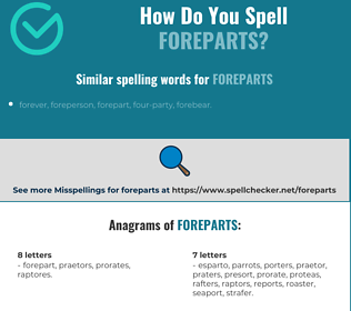 Correct spelling for foreparts