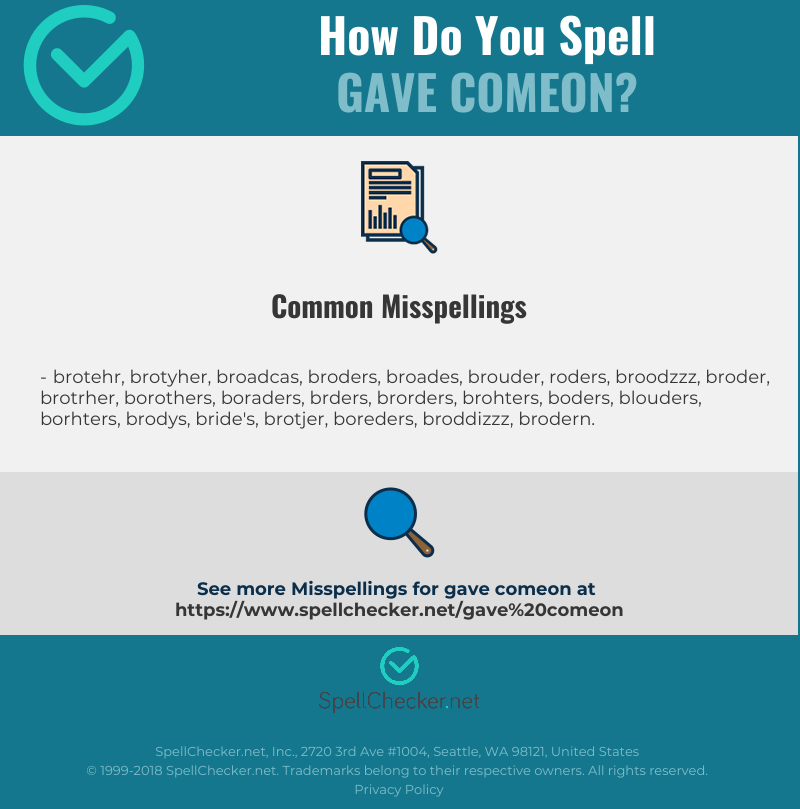 Correct spelling for gave comeon [Infographic