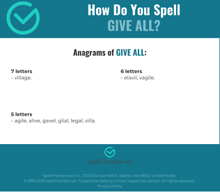 Correct spelling for give all