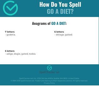 Correct spelling for go a diet