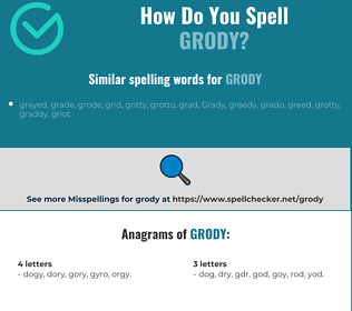 Correct spelling for grody