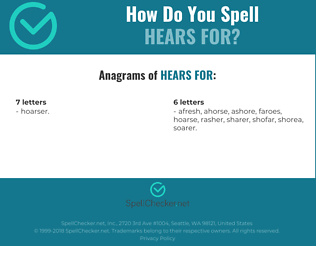 Correct spelling for hears for