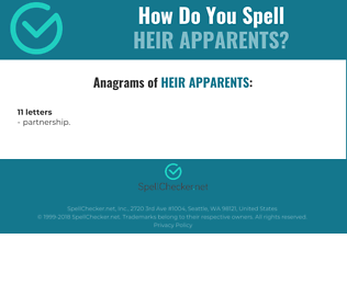 Correct spelling for heir apparents