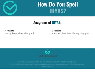 Correct spelling for hiyas