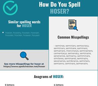 Correct spelling for hoser