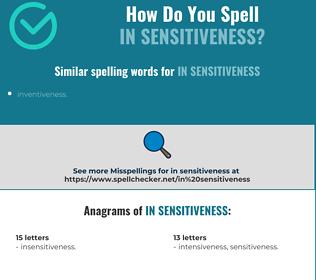 Correct spelling for in sensitiveness