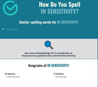 Correct spelling for in sensitivity