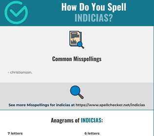 Correct spelling for indicias