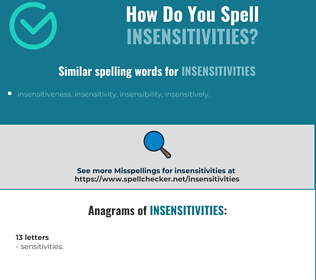 Correct spelling for insensitivities