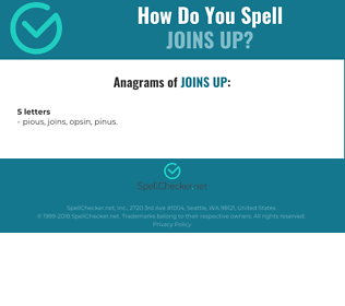 Correct spelling for joins up
