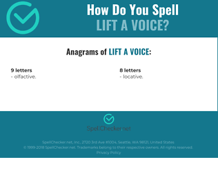 Correct spelling for lift a voice