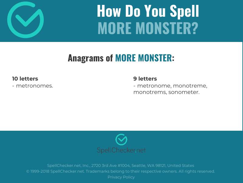 Correct spelling for more monster | Spellchecker net