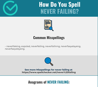 Correct spelling for never failing