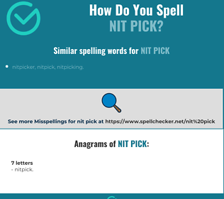 Correct spelling for nit pick