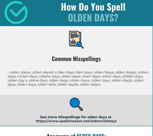 Correct spelling for olden days