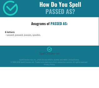 Correct spelling for passed as