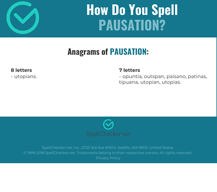 Correct spelling for pausation