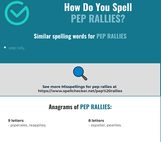 Correct spelling for pep rallies