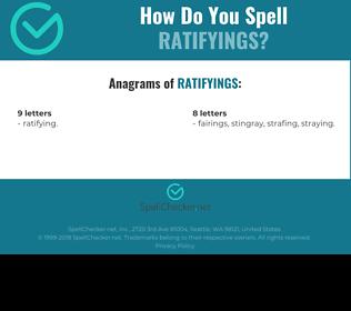 Correct spelling for ratifyings