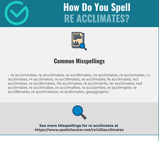 Correct spelling for re acclimates
