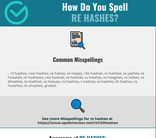 Correct spelling for re hashes
