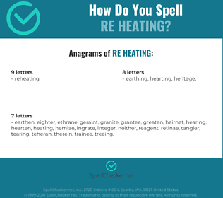Correct spelling for re heating