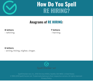 Correct spelling for re hiring
