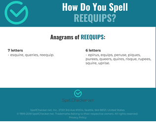 Correct spelling for reequips