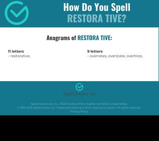 Correct spelling for restora tive