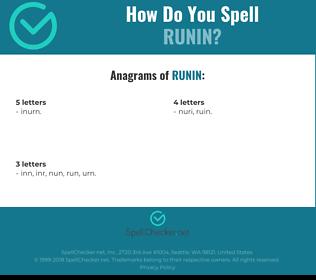 Correct spelling for runin
