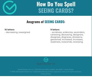 Correct spelling for seeing cards