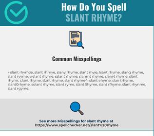 Correct spelling for slant rhyme