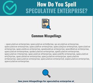 Correct spelling for speculative enterprise