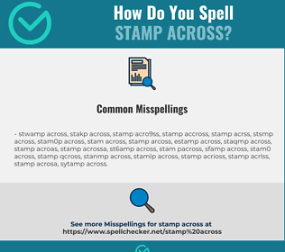 Correct spelling for stamp across