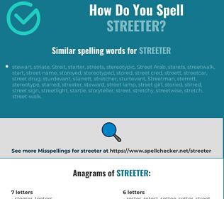 Correct spelling for streeter