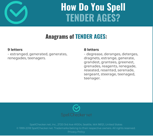 Correct spelling for tender ages
