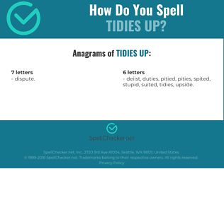 Correct spelling for tidies up