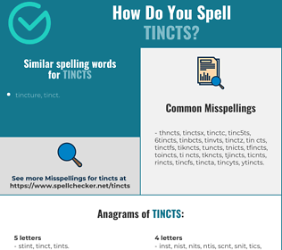 Correct spelling for tincts