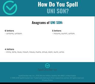 Correct spelling for uni son