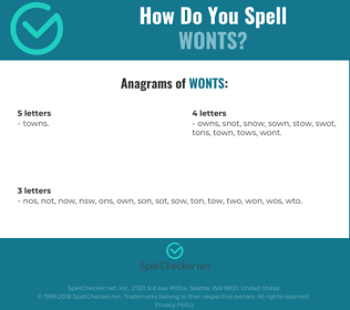 Correct spelling for wonts