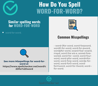 Correct spelling for word-for-word