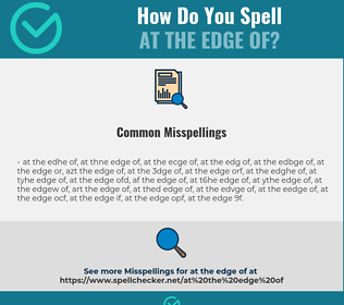 Correct spelling for at the edge of