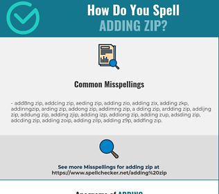 Correct spelling for adding zip