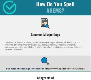 Correct spelling for ahems