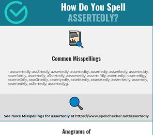Correct spelling for assertedly