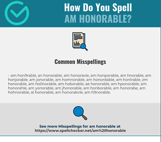 Correct spelling for am honorable