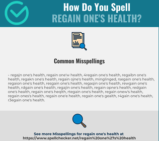 Correct spelling for regain one's health